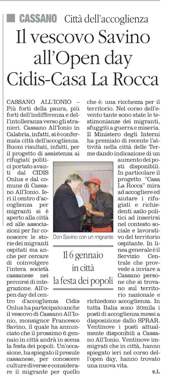 """Articolo da """"il quotidiano del sud"""" del 24 novembre"""
